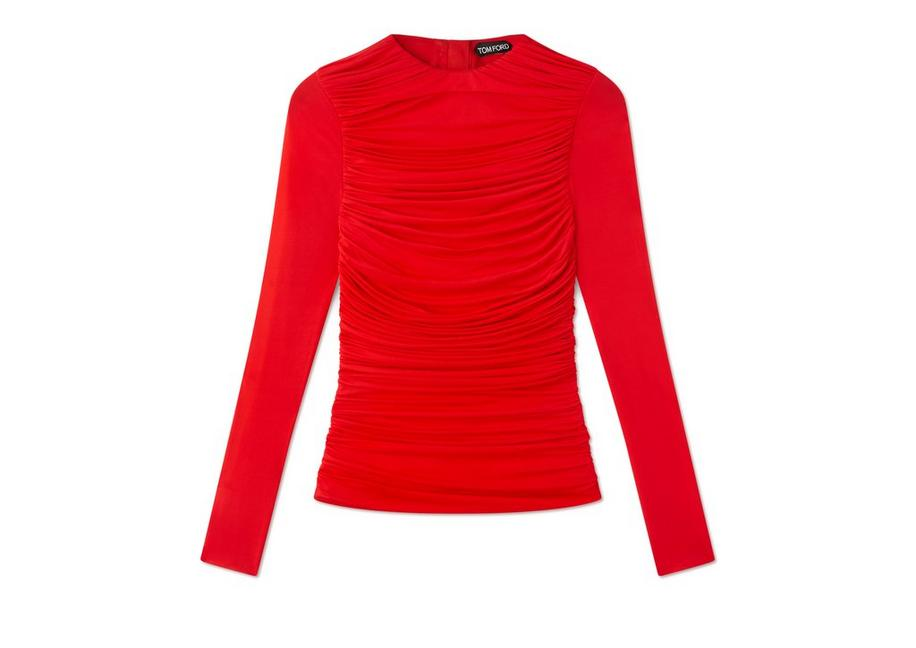 RUCHED LONG SLEEVE ZIP TOP A fullsize
