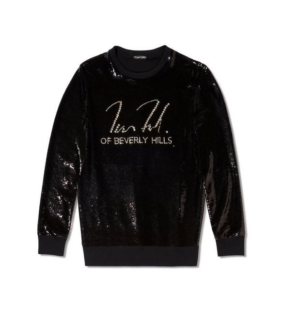 Liquid Sequin Signature Sweatshirt, Black
