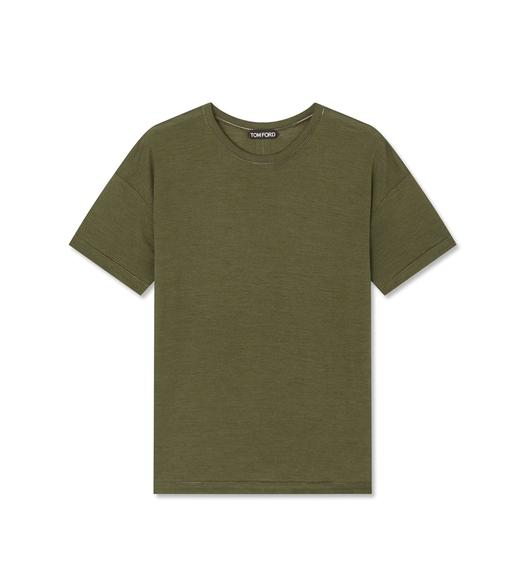 SILK WOOL JERSEY T-SHIRT WITH AJOUR DETAIL
