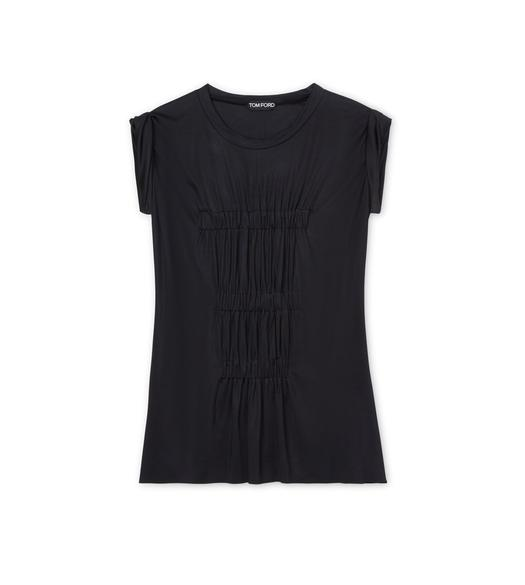 SILK JERSEY RUCHED T-SHIRT