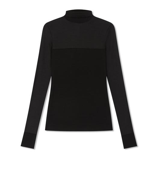 LIGHT STRECH WOOL TURTLE NECK TOP