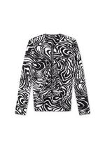 MARBLED ZEBRA PRINT TOP WITH SHEER INSERT A thumbnail