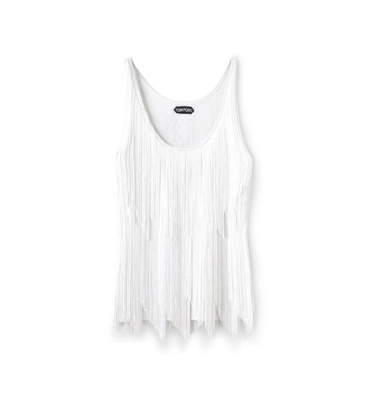STRETCH VISCOSE FRINGE TANK TOP