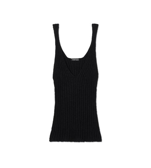 RIBBED TEXTURED SILK TANK TOP
