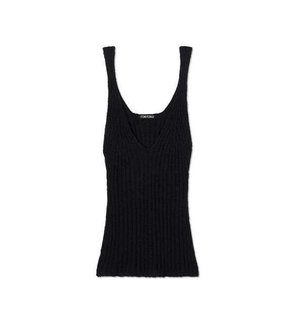 RIBBED TEXTURED SILK TANK TOP A fullsize