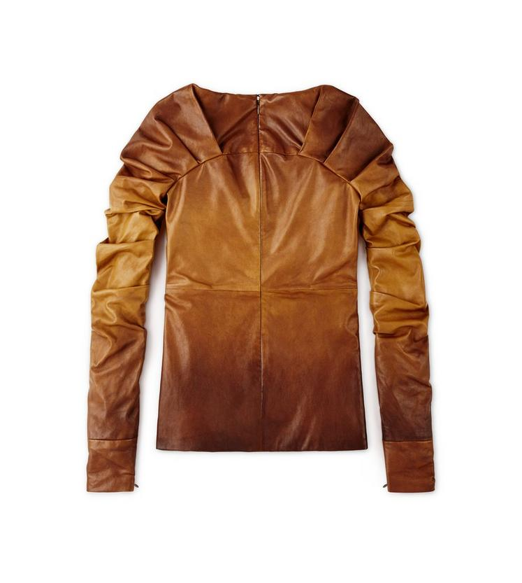 LEATHER TOP WITH RUCHED SLEEVES B fullsize