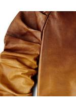 LEATHER TOP WITH RUCHED SLEEVES C thumbnail
