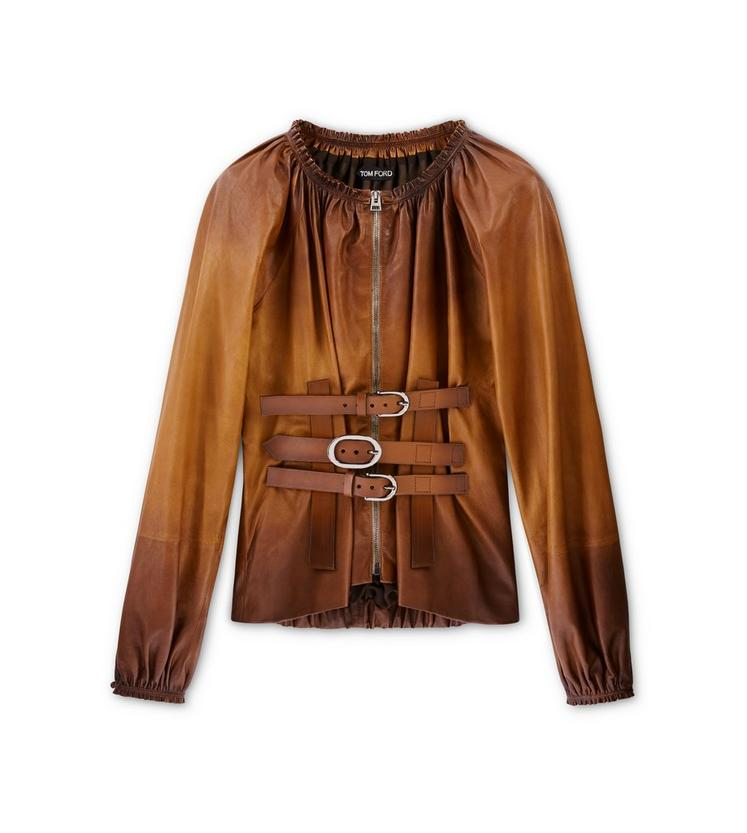 FRONT ZIP LEATHER BLOUSE A fullsize