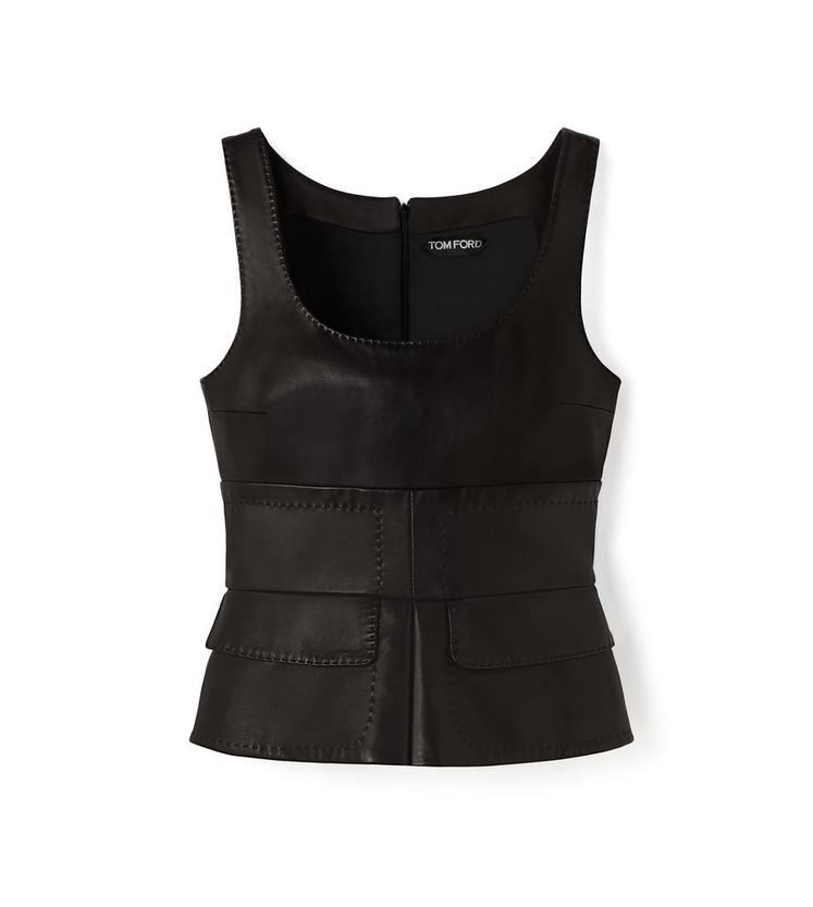 LEATHER TANK TOP WITH PEPLUM A fullsize