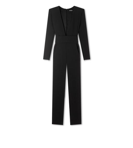 DOUBLE SPLITTABLE STRETCH WOOL EVENING JUMPSUIT