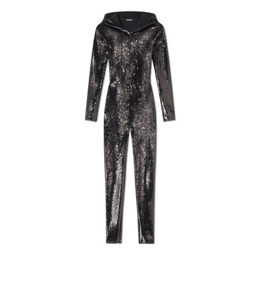 LIQUID SEQUIN HOODED JUMPSUIT