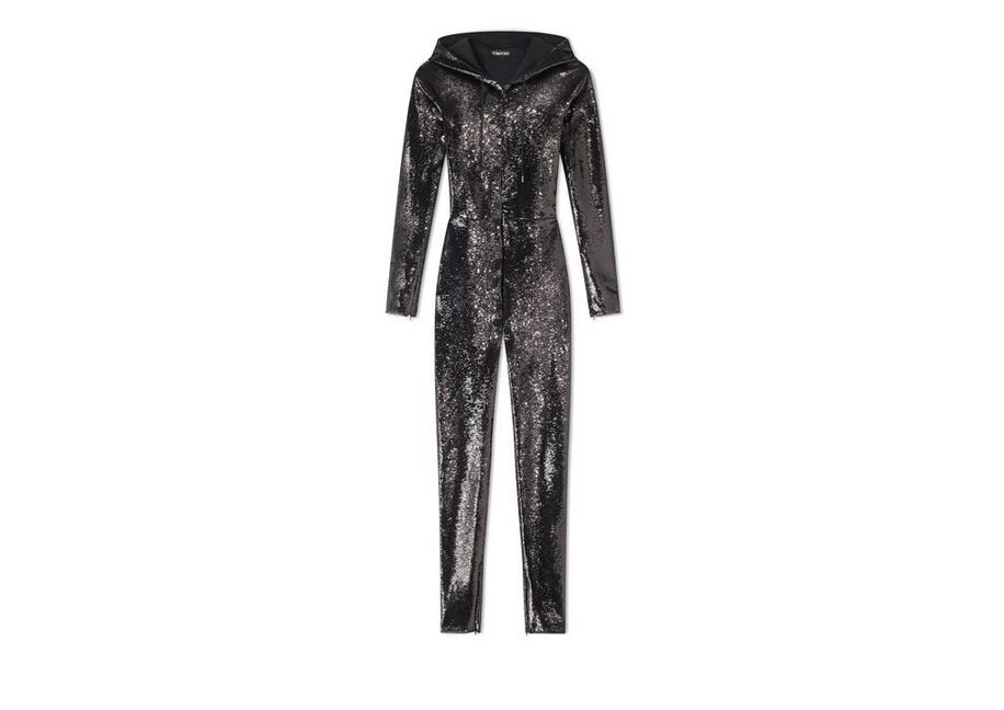 LIQUID SEQUIN HOODED JUMPSUIT A fullsize