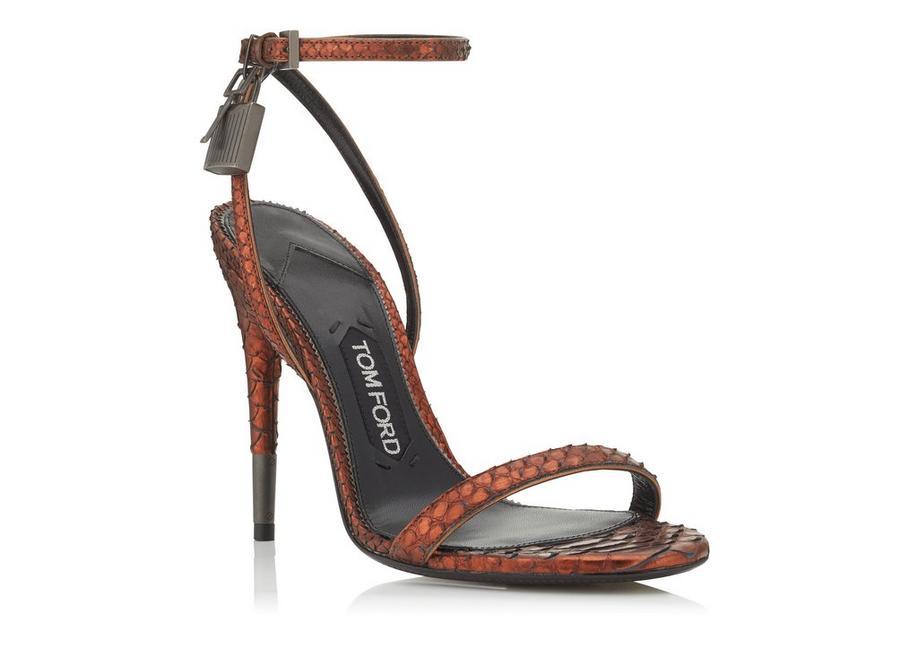 Tom Ford Snakeskin Metallic Sandals