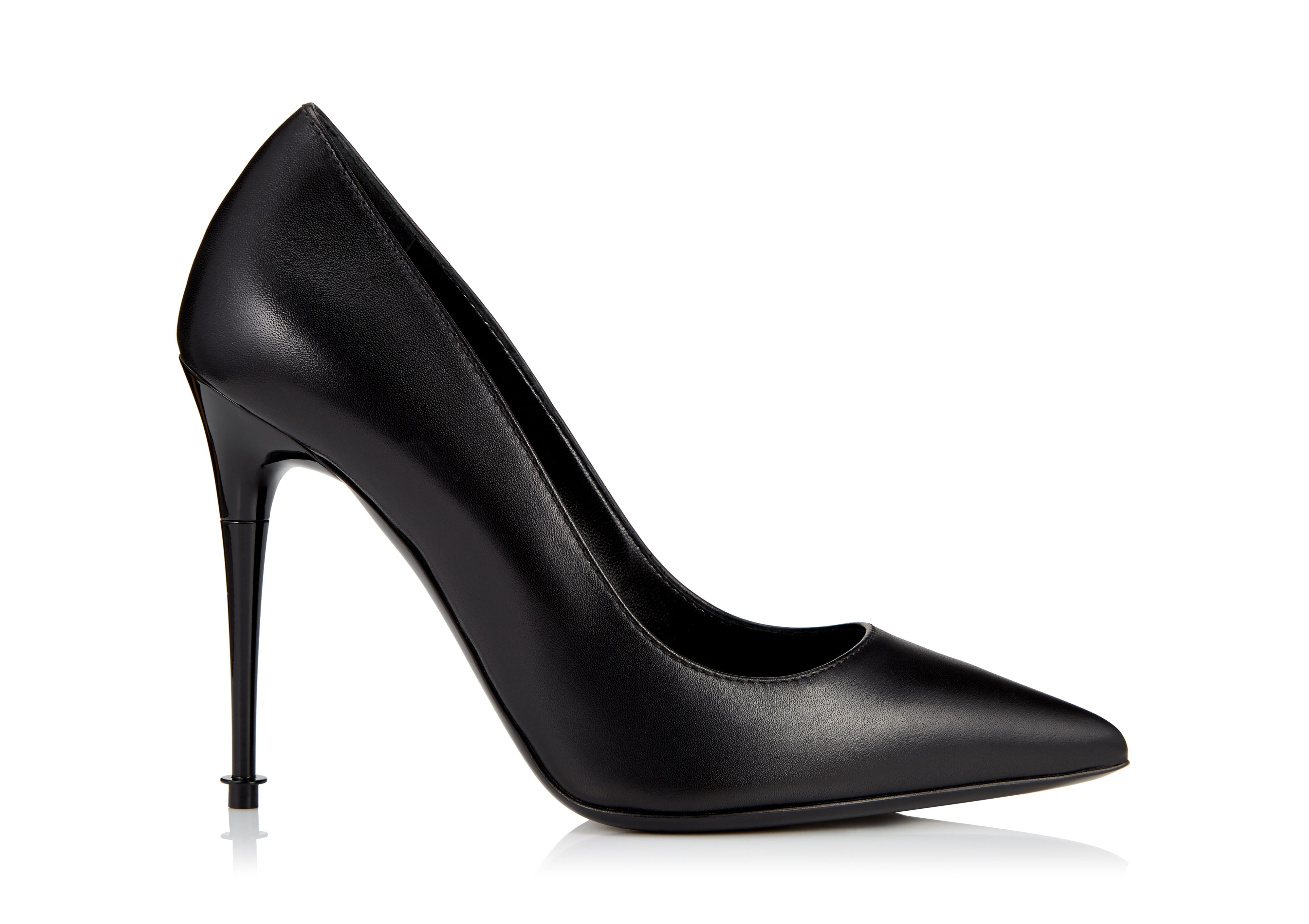 LACQUERED STACK HEEL PUMP A thumbnail