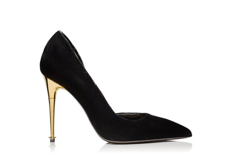 TOM FORD SUEDE 85MM HALF-D'ORSAY PUMP, BLACK