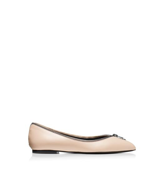 LEATHER ZIP BALLERINA FLAT