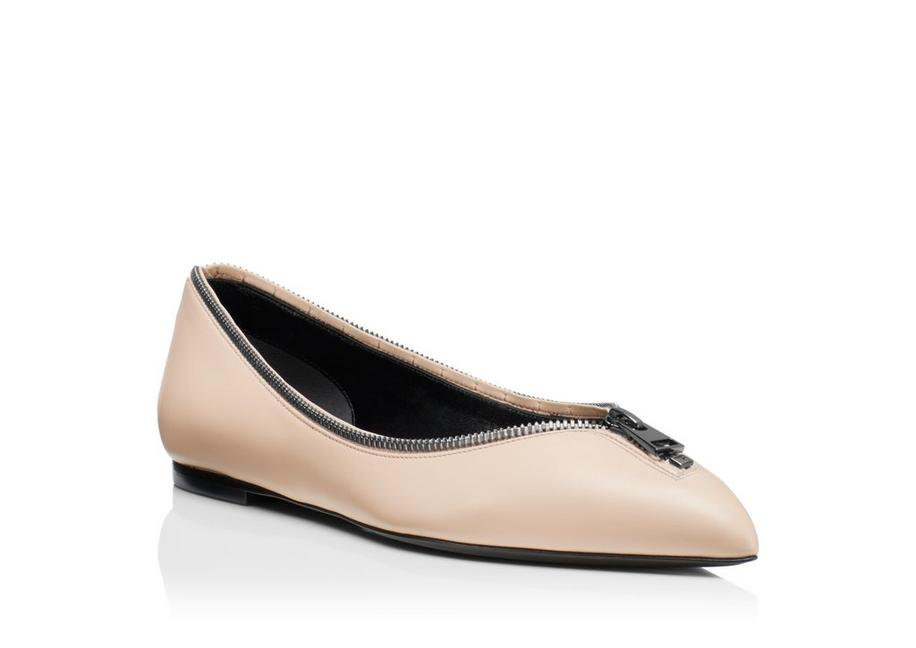 LEATHER ZIP BALLERINA FLAT B fullsize