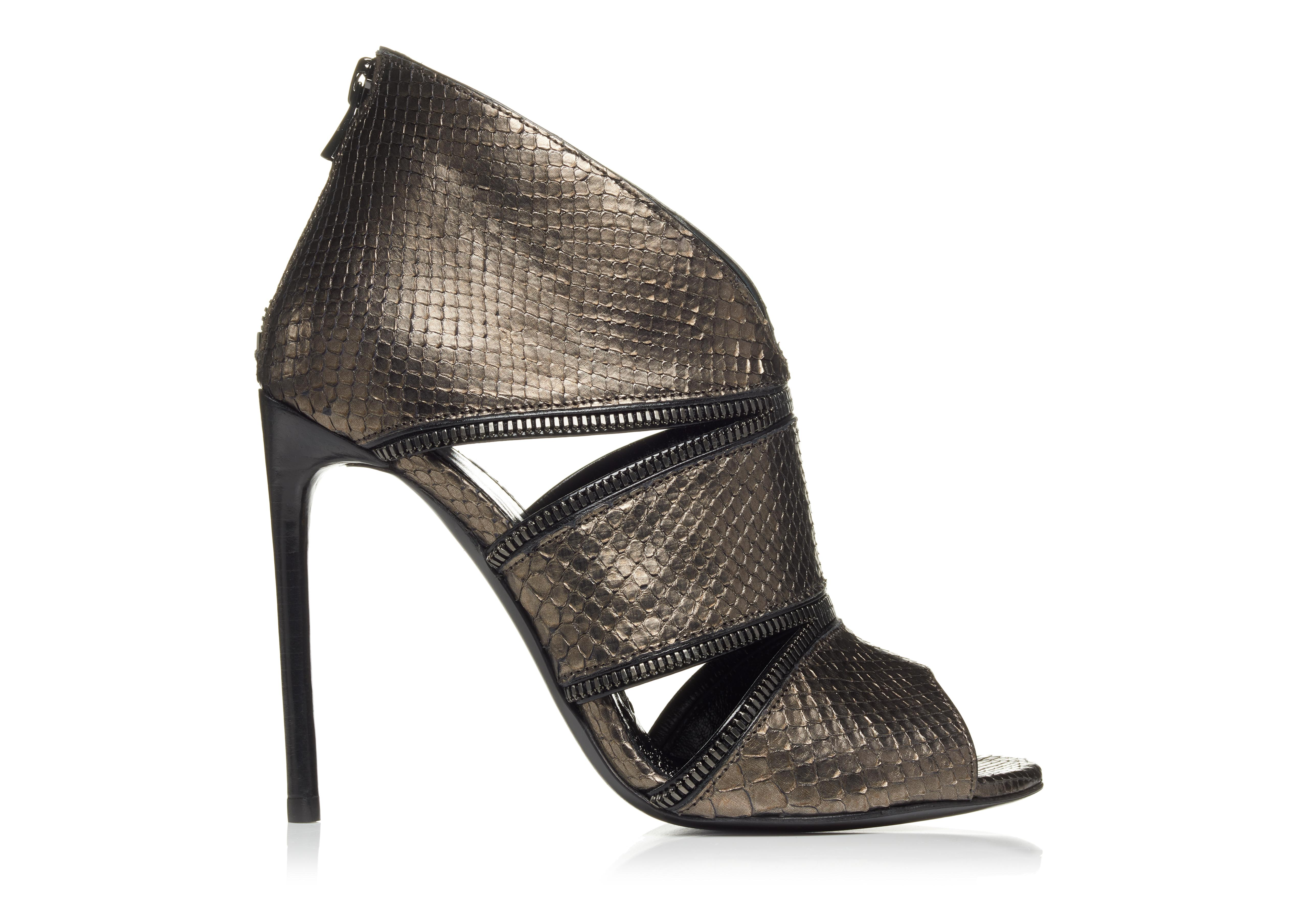 ZIP CUT OUT PYTHON OPEN TOE BOOTIE A thumbnail