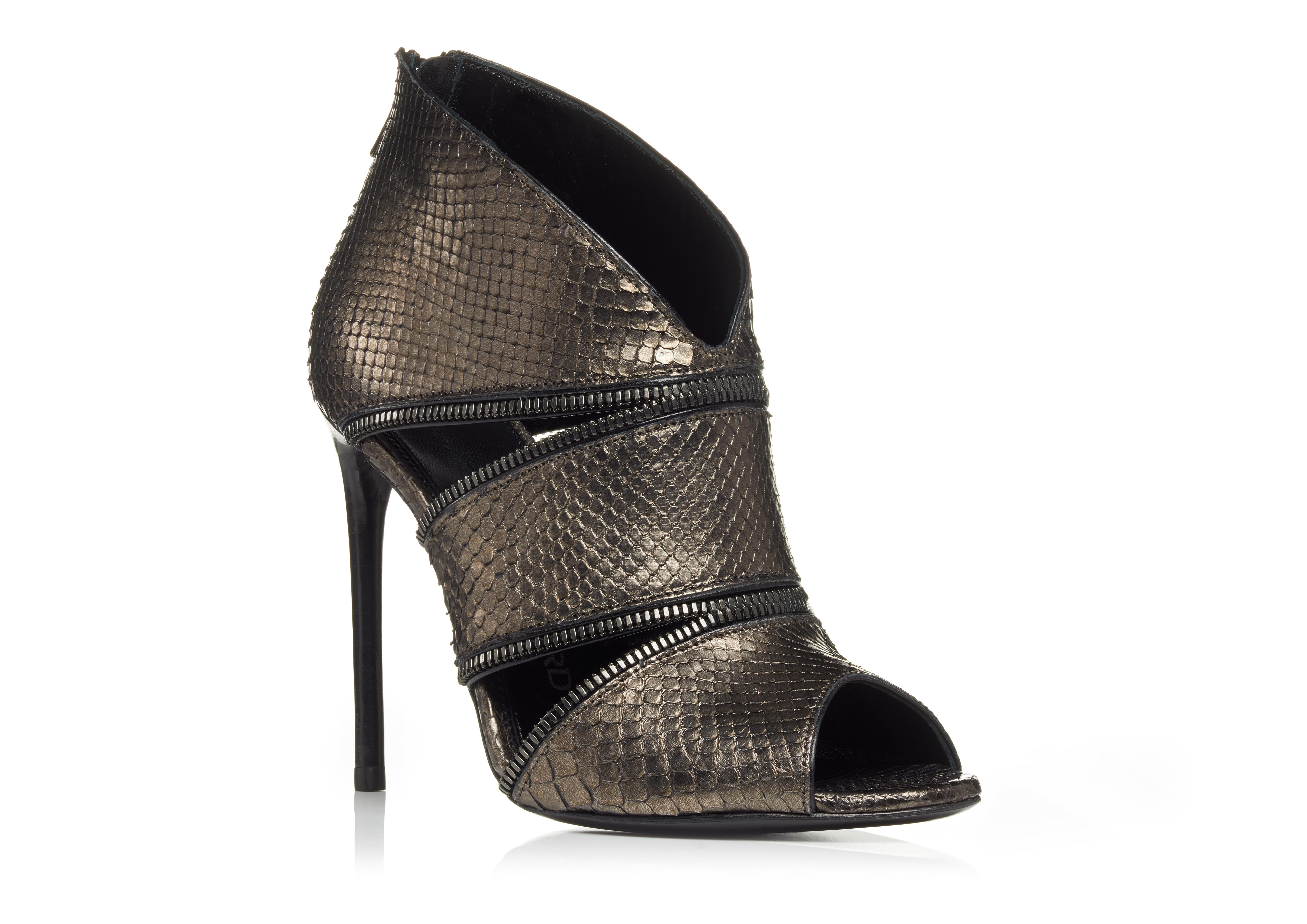 ZIP CUT OUT PYTHON OPEN TOE BOOTIE B thumbnail