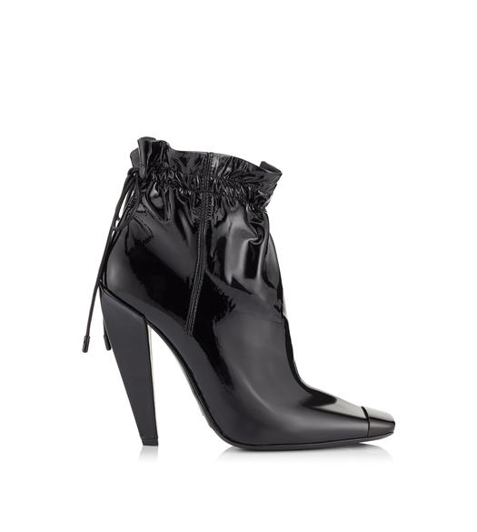 PATENT LEATHER COULISSE ANKLE BOOT