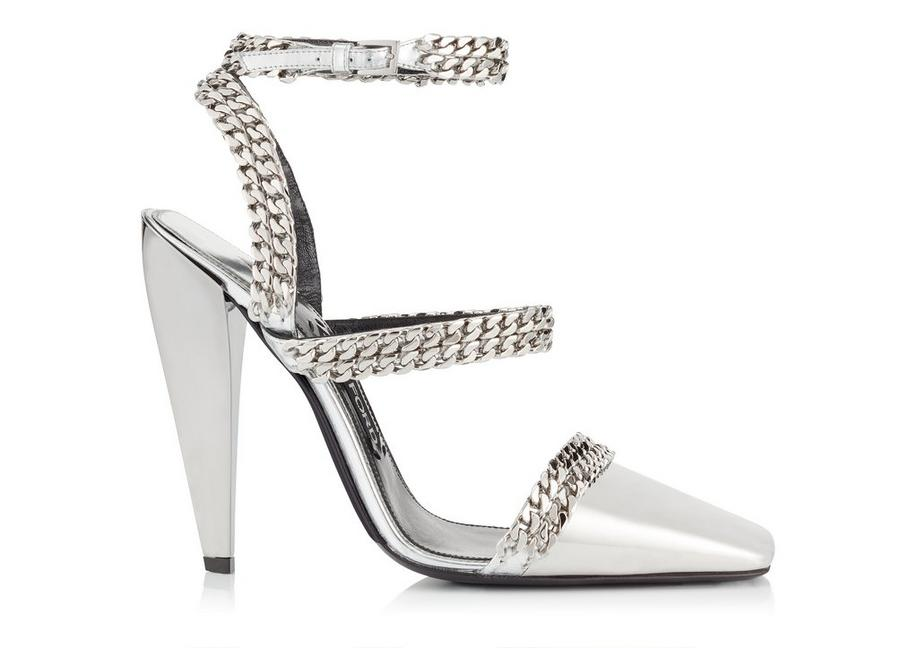 METALLIC SQUARE TOE CAP CHAIN PUMP A fullsize