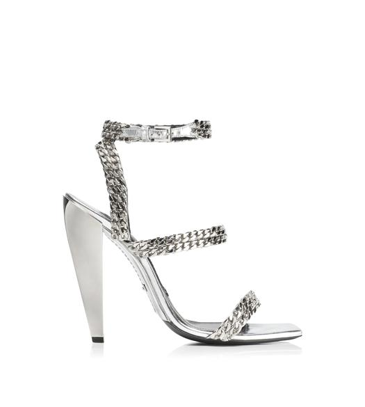 MIRROR SQUARE TOE CHAIN SANDAL