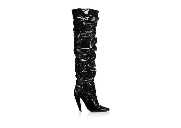 PATENT LEATHER SQUARE TOE CAP OVER THE KNEE BOOT