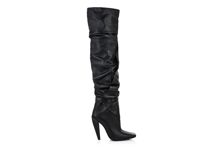 SQUARE TOE CAP OVER THE KNEE BOOT A fullsize