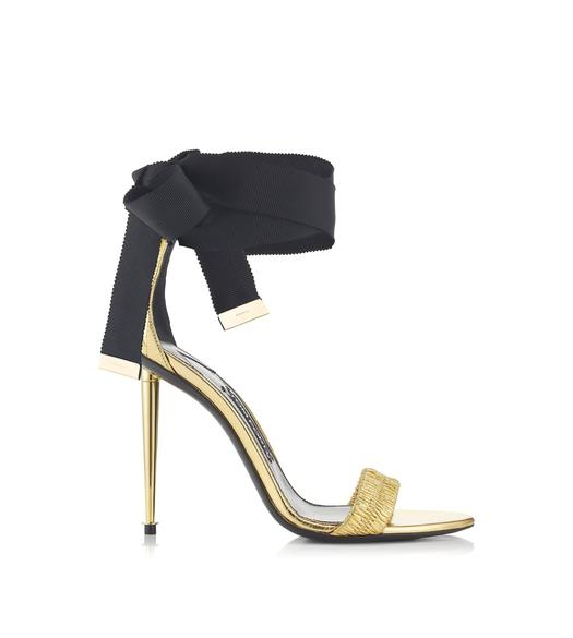 RUCHED ANKLE TIE SANDAL