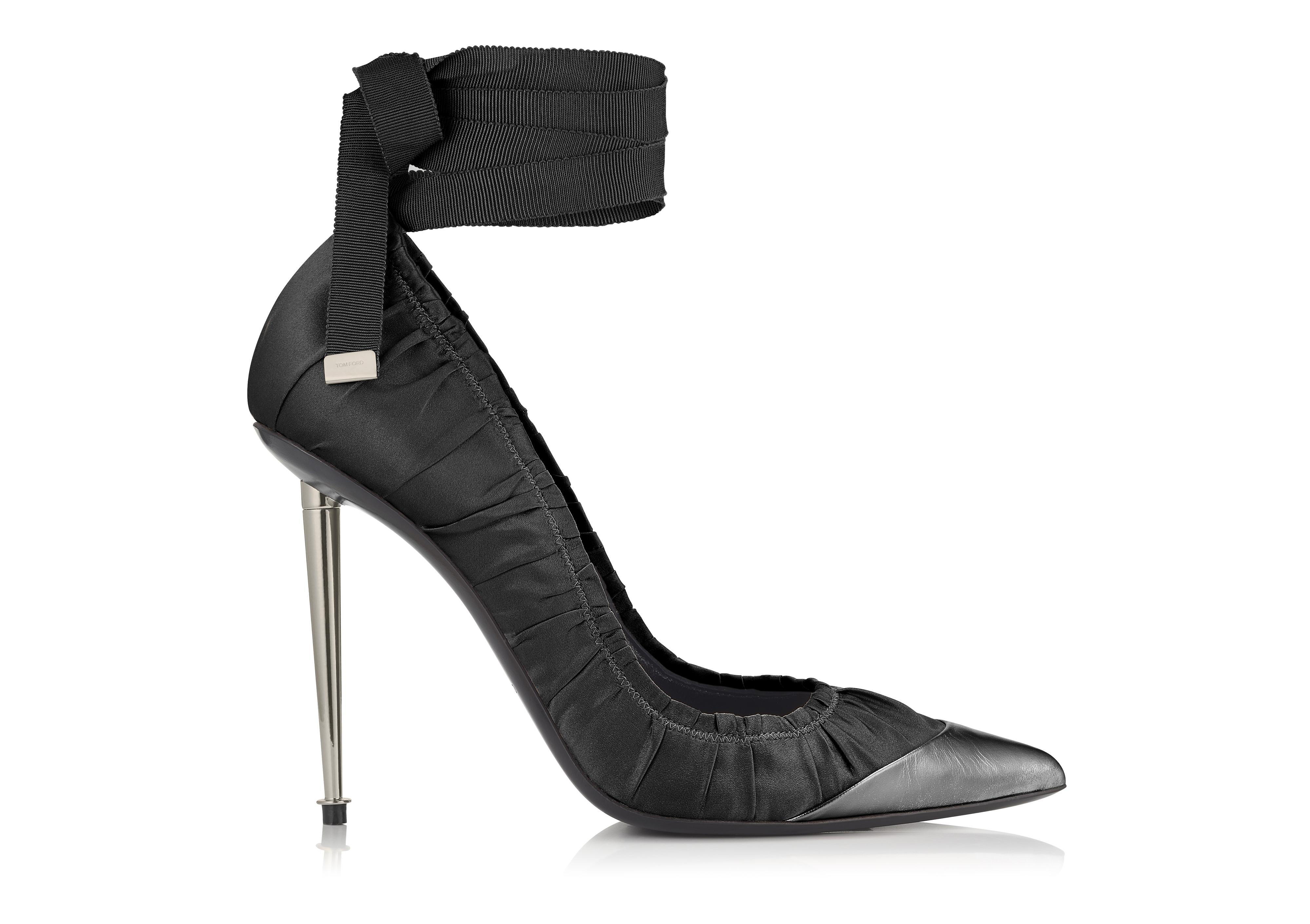 RUCHED ANKLE TIE PUMP A thumbnail