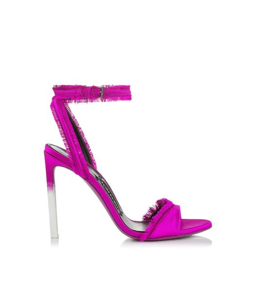 FRAYED SATIN SANDAL