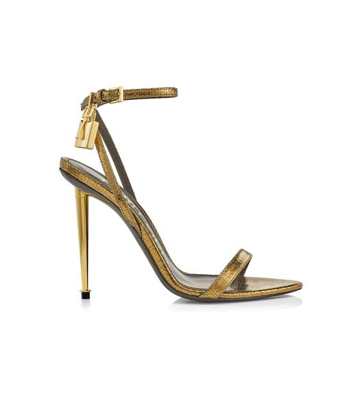 LAMINATED PRINTED LIZARD PADLOCK POINTY NAKED SANDAL 105 MM