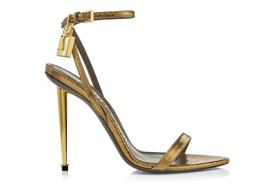 LAMINATED PRINTED LIZARD PADLOCK POINTY NAKED SANDAL 105 MM A fullsize