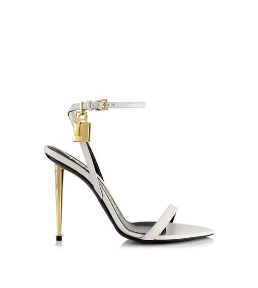 SHINY LEATHER PADLOCK POINTY NAKED SANDAL 105 MM