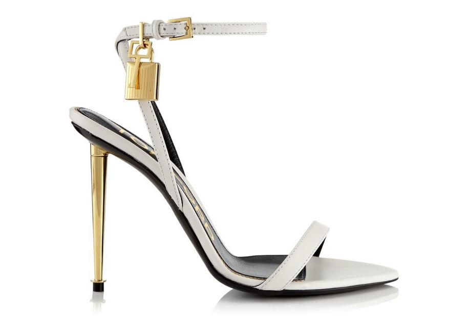 SHINY LEATHER PADLOCK POINTY NAKED SANDAL 105 MM A fullsize