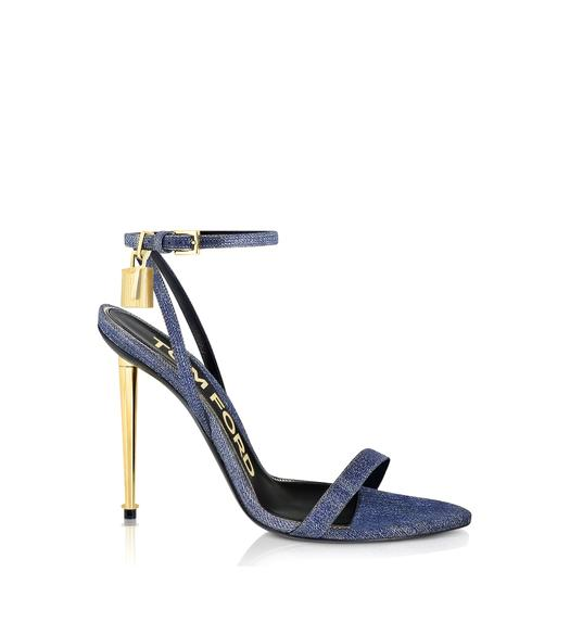 DENIM PADLOCK POINTY NAKED SANDAL 105 MM