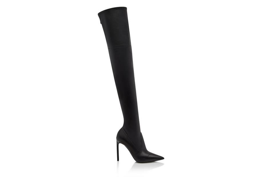 STRETCH NAPPA LEATHER T SCREW OVER THE KNEE BOOT A fullsize