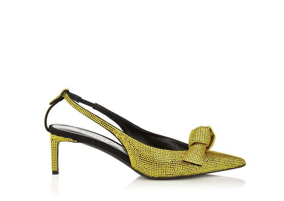 EMBROIDERED CRYSTAL BOW SLINGBACK A fullsize