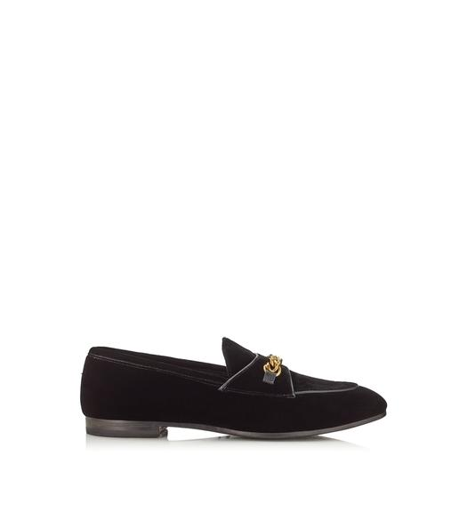 VELVET CHAIN LOAFERS