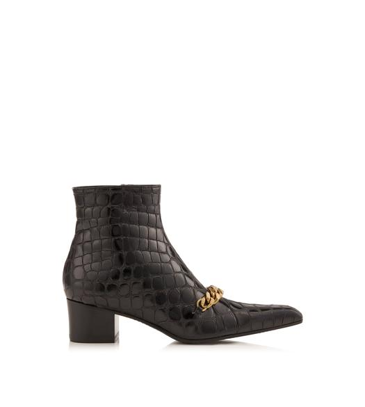 EMBOSSED CROCODILE CHAIN ANKLE BOOT