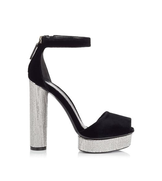 VELVET AND CRYSTAL PLATFORM SANDAL