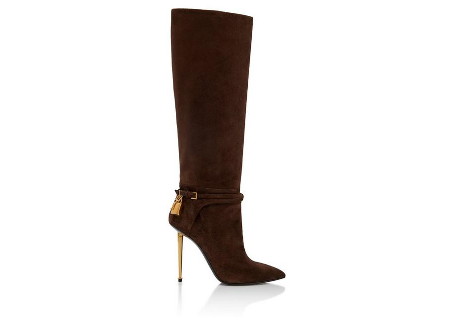 SUEDE LEATHER PADLOCK BOOT 105 MM A fullsize