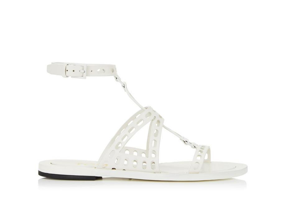 PERFORATED LEATHER T TWIST FLAT SANDAL A fullsize