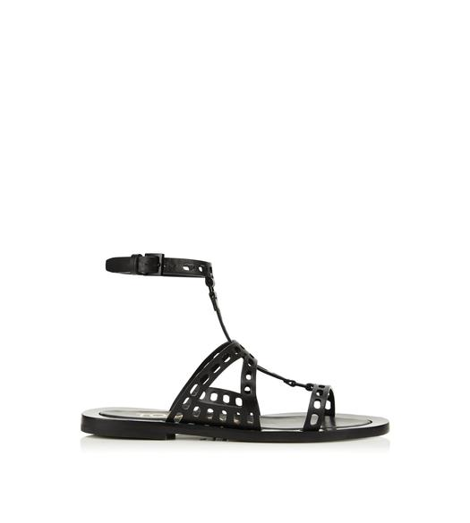 PERFORATED LEATHER T TWIST FLAT SANDAL