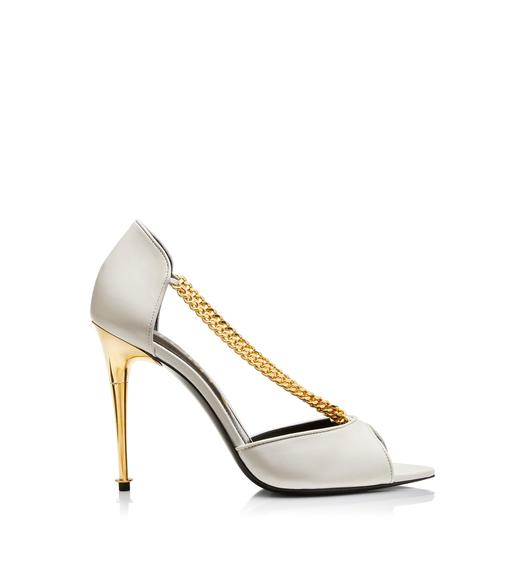 SHINY LEATHER CHAIN PEEP TOE PUMP