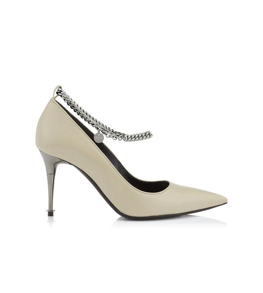SHINY LEATHER CHAIN PUMP 105 MM