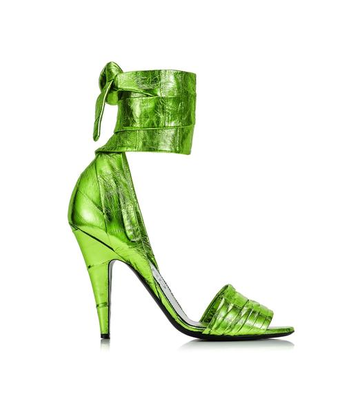 LAMINATED EEL ANKLE WRAP SANDAL