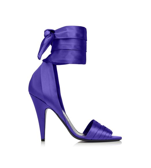 SATIN ANKLE WRAP SANDAL