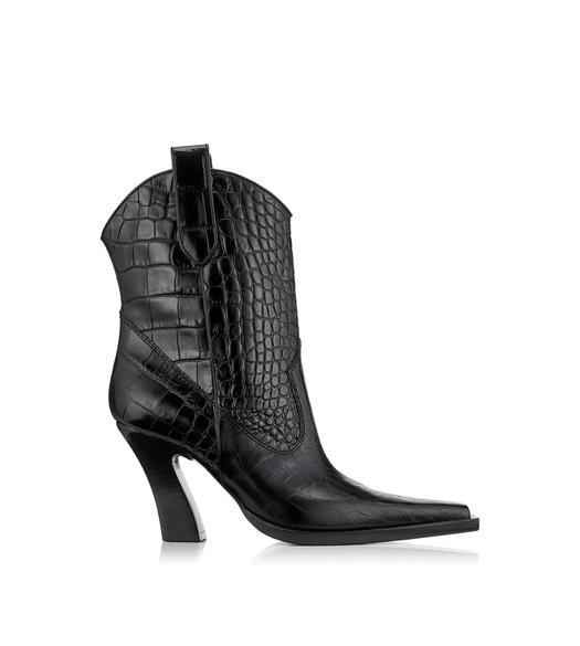 SHINY STAMPED CROCODILE LEATHER COWBOY ANKLE BOOTS 85 MM