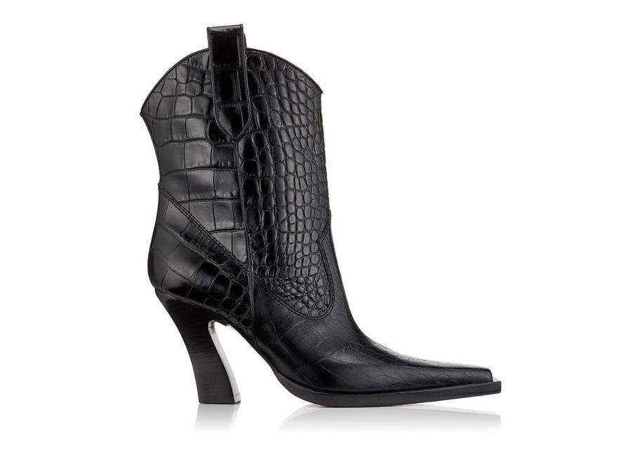 SHINY STAMPED CROCODILE LEATHER COWBOY ANKLE BOOTS 85 MM A fullsize